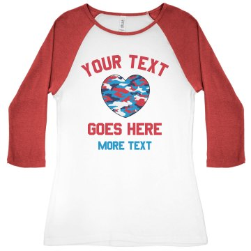 I Heart My Marine  Junior Fit Bella 1x1 Rib 3/4 Sleeve Raglan Tee