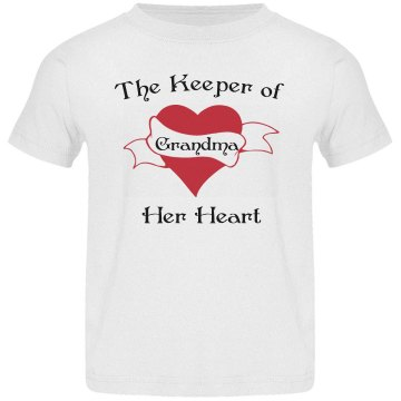 Keeper Of Grandma's Heart Toddler Basic Gildan Ultra Cotton Crew Neck Tee