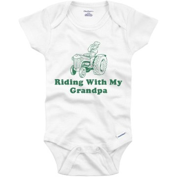 Riding With My Grandpa Infant Bella Baby Long Sleeve Lap Shoulder Tee