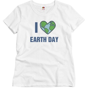 I Heart Earth Day Junior Fit Bella Sheer Longer Length Rib Tee
