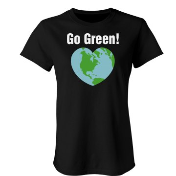 Go Green Heart Tee Junior Fit Bella Crewneck Jersey Tee