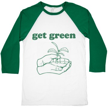 Get Green Ringer Junior Fit Bella 1x1 Rib Ringer Tee