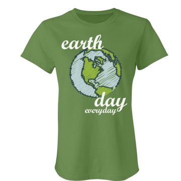 Earth Day Globe Tee Junior Fit Bella Crewneck Jersey Tee