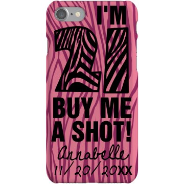 Pink 21 Zebra Case Plastic iPhone 5 Case Black