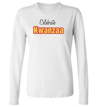 Celebrate Kwanzaa Junior Fit Bella Long Sleeve Crewneck Jersey Tee