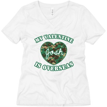 My Valentine Is Overseas Misses Relaxed Fit Anvil V-Neck Tee