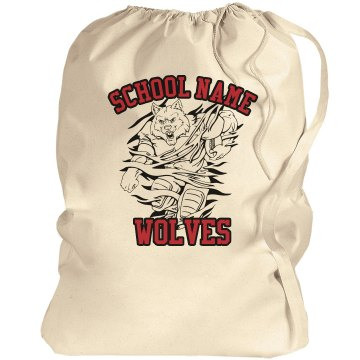 Wolves School Mascot Port Authority Laundry Bag