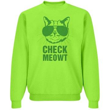 Check Meowt Glasses Unisex Jerzees Neon NuBlend Crewneck Sweatshir
