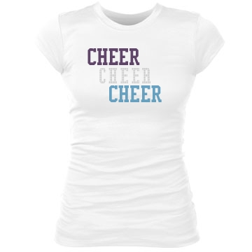 Cheer Cheer Bling Tee Junior Fit Bella Sheer Longer Length Rib Tee