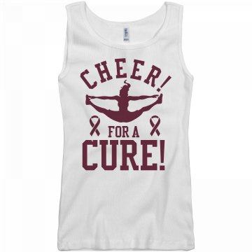Cheer For A Cure Junior Fit Basic Bella 2x1 Rib Tank Top