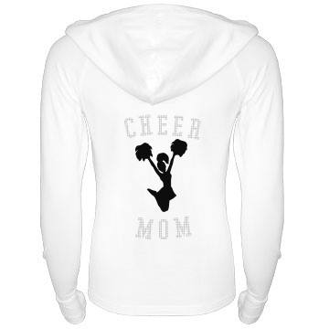 Cheer Mom Rhinestone Junior Fit Bella Long Sleeve 1/2 Zip Hooded Pullover Tee