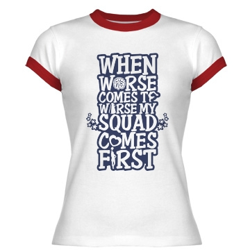 Cheer Squad Saying Junior Fit Bella 1x1 Rib Ringer Tee