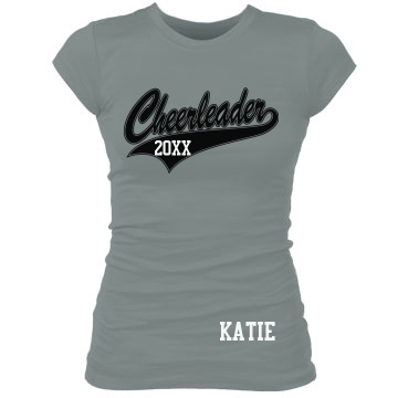 Cheerleader Name Tee Junior Fit Bella Sheer Longer Length Rib Tee