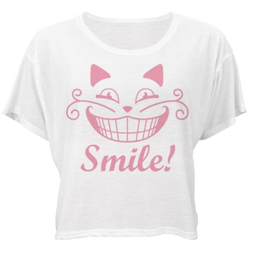 Cheshire Cat Big Smile Bella Flowy Boxy Lightweight Crop Top Tee