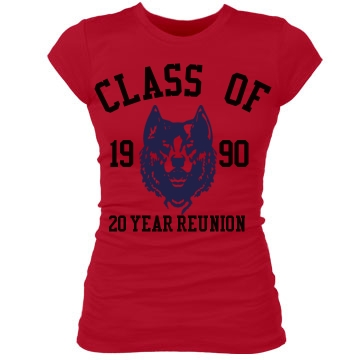 Class of 1990 Twenty Year Junior Fit Bella Sheer Longer Length Rib Tee
