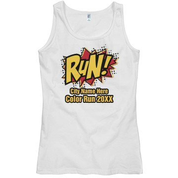 Comic Color Run Tank Misses Relaxed Fit Basic Gildan Softstyle Tank Top