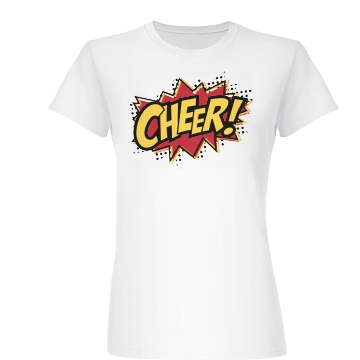 Comic Style Cheer Shirt Junior Fit Basic Bella Favorite Tee