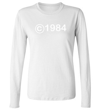 Copyright 1984 Junior Fit Bella Long Sleeve Crewneck Jersey Tee