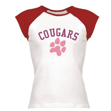 Cougars Junior Fit Bella 1x1 Rib Cap Sleeve Raglan Tee