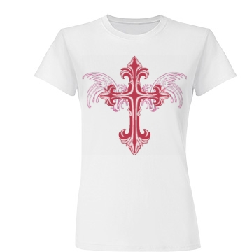 Cross With Wings Junior Fit Basic Tultex Fine Jersey Tee