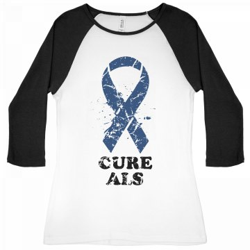 Cure ALS Distressed Junior Fit Bella 1x1 Rib 3/4 Sleeve Raglan Tee