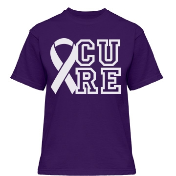 Cure Pancreatic Cancer  Misses Relaxed Fit Gildan Heavy Cotton Tee