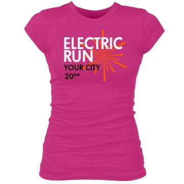 Custom Electric Run Junior Fit Bella Sheer Longer Length Rib Tee