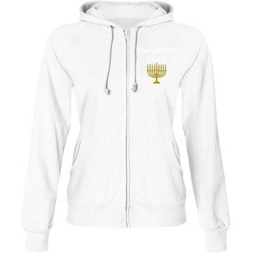 Custom Hanukkah Jacket Junior Fit Bella Fleece Raglan Full Zip Hoodie