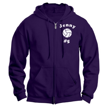 Custom Name V-Ball Hoody Unisex Gildan Heavy Blend Full Zip Hoodie