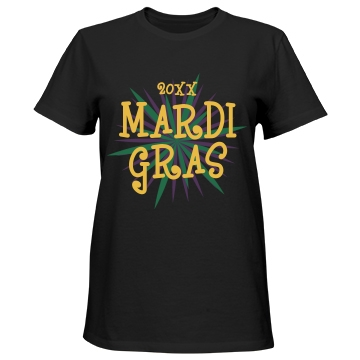 Custom Year Mardi Gras Misses Relaxed Fit Port & Company Essential Tee