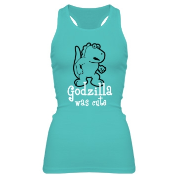 Cute Godzilla Junior Fit Bella Sheer Longer Length Rib Racerback Tank Top