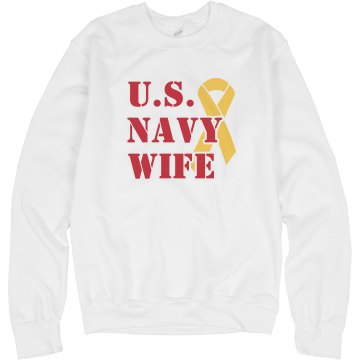 Navy Wife Misses Relaxed Fit Anvil V-Neck Tee