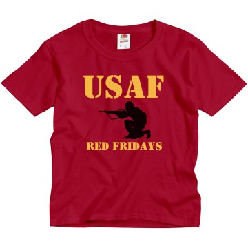 USAF Red Fridays w/ Back Youth Gildan Ultra Cotton Crew Neck Tee