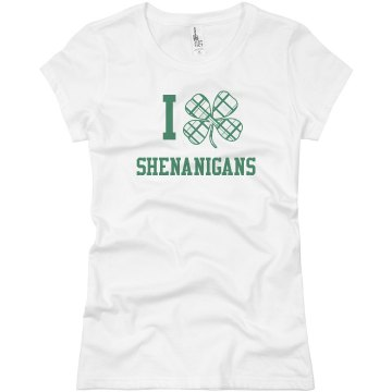 I Heart Shenanigans Junior Fit Bella Sheer Longer Length Rib Tee