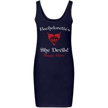 Bachelorette's Devils Junior Fit Bella Sheer Longer Length Rib Racerback Tank Top