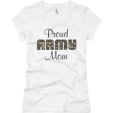 Proud Army Mom Junior Fit Basic Bella Favorite Tee