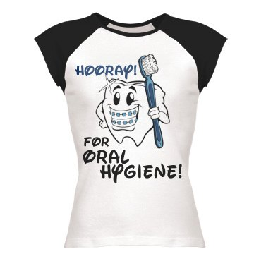 Hooray For Oral Hygiene Junior Fit Bella 1x1 Rib Ringer Tee