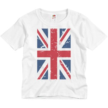 UK Flag Distressed T Youth Basic Gildan Ultra Cotton Crew Neck Tee
