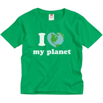 I Heart My Planet Youth Gildan Ultra Cotton Crew Neck Tee