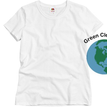 Green Clean Inc. w/ Back Misses Relaxed Fit Basic Gildan Heavy Cotton Tee