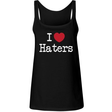 I Love Haters Juniors Junior Fit Bella 1x1 Rib Ringer Tee