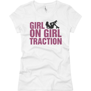 Roller Derby Girl On Girl Junior Fit Basic Bella Favorite Tee