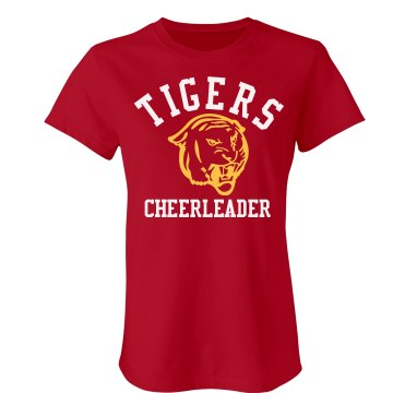 Tigers Cheerleader Junior Fit Bella Crewneck Jersey Tee