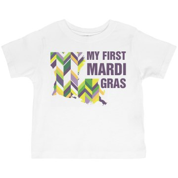 First Mardi Gras Toddler Basic Gildan Ultra Cotton Crew Neck Tee