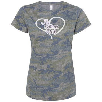 I Love My Soldier Bill Misses Relaxed Fit Code V Jersey Pink Camo Tee