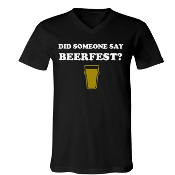 Beerfest? mens Unisex Canvas V-Neck Jersey Tee