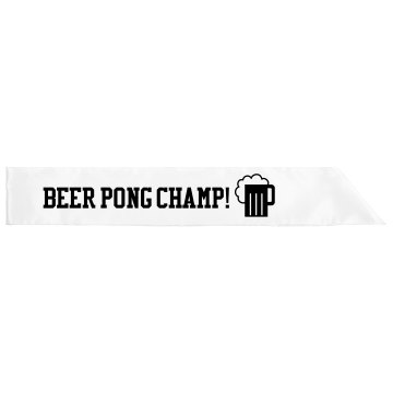 Pong Champ Sash Adult Satin Party Sash