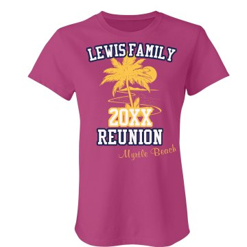 Family Reunion Tee Junior Fit Bella Sheer Longer Length Rib Tee