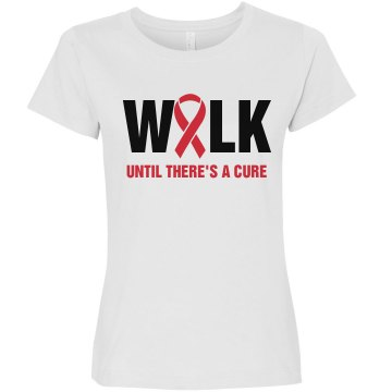Walk Until There's A Cure Junior Fit Bella Sheer Longer Length Rib Tee