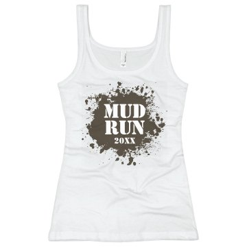 Mud Run 2013 Junior Fit Bella Sheer Longer Length Rib Racerback Tank Top